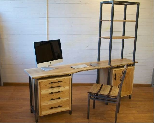 modular desk in hickory and raw steel- 72