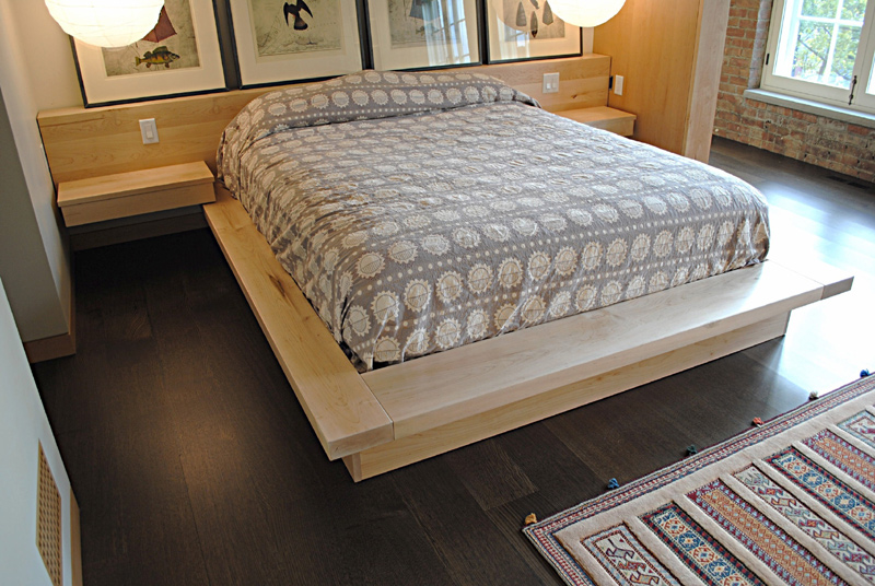 Queen size Platform bed with built-in headboard and floating night stands. Maple-queen size bed 12' long headboard.