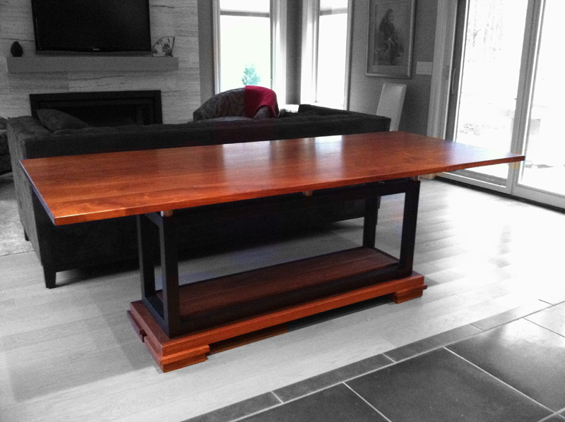 6-8 person walnut and steel dining room table-84