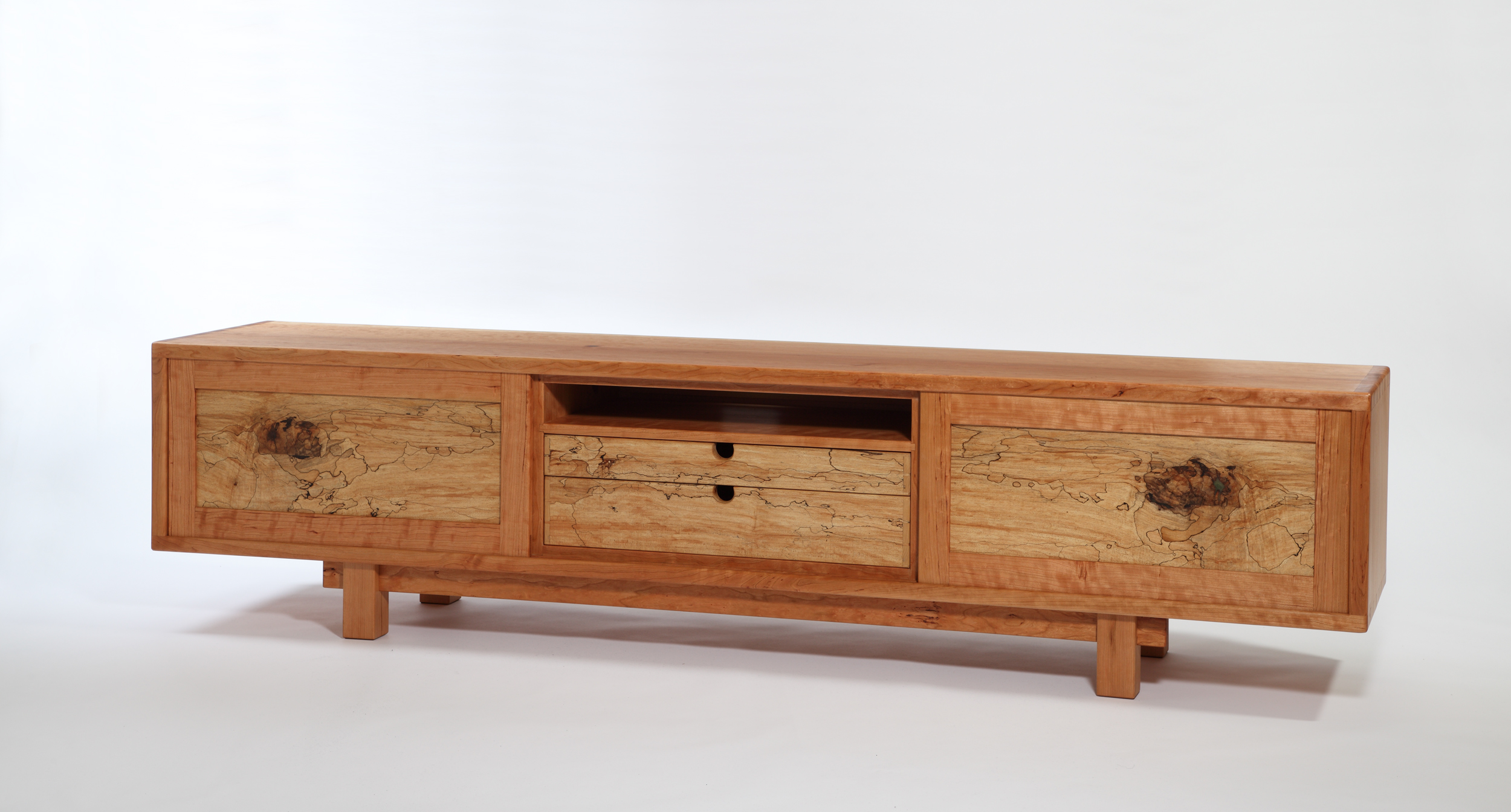 media console in cherry and spalted maple- 92